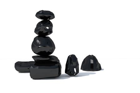 black onyx: the black sapphire or onyx in 3D Stock Photo