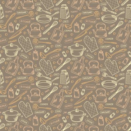 Kitchen sketch beige vector seamless pattern Illustration