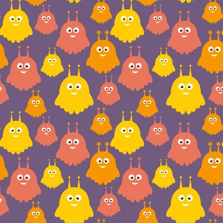 Sweet aliens orange colorful vector seamless pattern