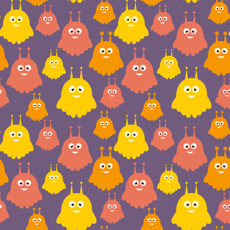Sweet aliens orange colorful vector seamless pattern Stock Vector - 82149031