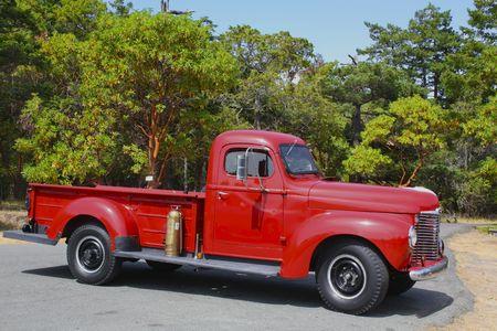 Vieux rouge ramasser de camion à Washington Park Banque d'images - 5732085
