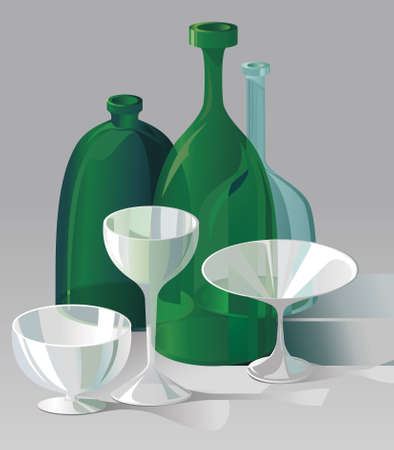 Green bottles and transparent wine and martini glasses   Vector