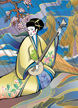 Japanese style musician in a traditional costume on a landcsape background   Illustration