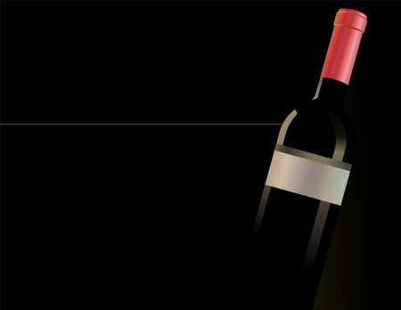 A bottle of red wine on the black background. Scalable vector graphics in format. Vector