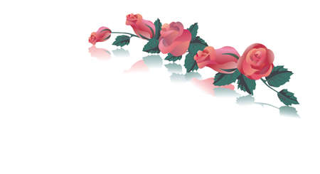 scalable: Greeting card with red roses. Scalable graphics in format