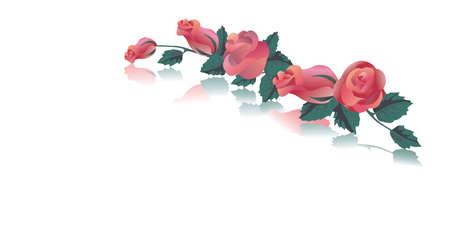 schaalbaar: Wenskaart met rode rozen. Schaalbare afbeeldingen in *. eps-formaat