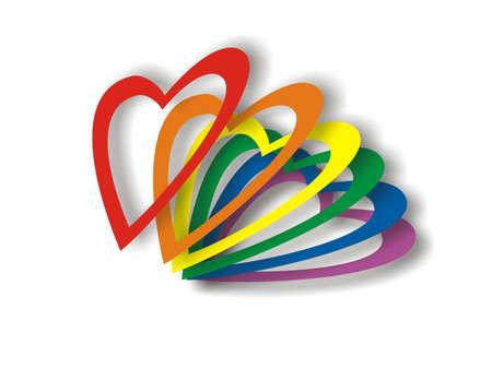 bandera gay: San Valent�n bandera gay en la tarjeta de colores