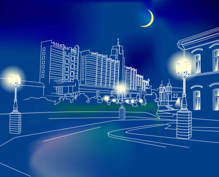 enclosed: Hand-drawn city at night. Scalable vector graphics, format is enclosed.