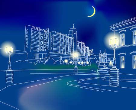 schaalbaar: Hand getekende stad 's nachts. Scalable Vector Graphics, *. eps-formaat is bijgesloten. Stock Illustratie