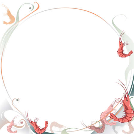 prawns: Food background with shrimps. Page template with circle shape . Scalable vector graphics.