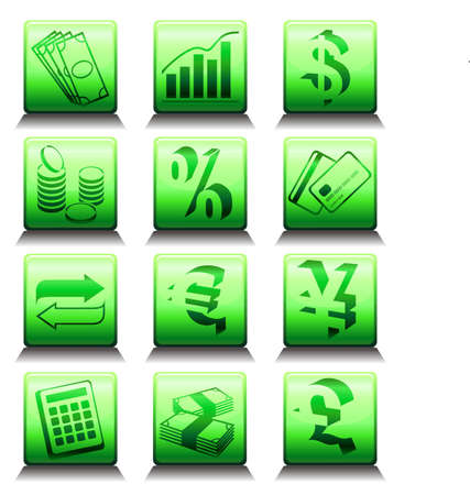 Set of vector icons with financial symbols Vector