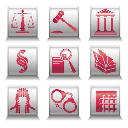 peluca: Conjunto de vectores iconos de la justicia con los s�mbolos