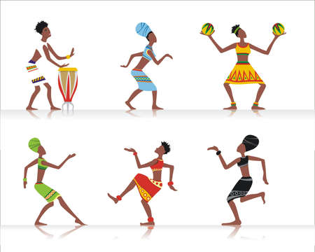 yellow african: african dancers &amp, musicians Illustration