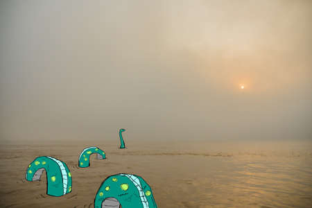 insular: Virtual drawing.The giant snake in the lake far.Snake is a quiet sun on the sea