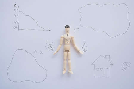 middleman: Creative idea wooden puppet.Men are thought to play a new puppet , property agents Stock Photo