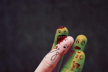 Creative idea finger. Vampire are blood sucking.Halloween Day