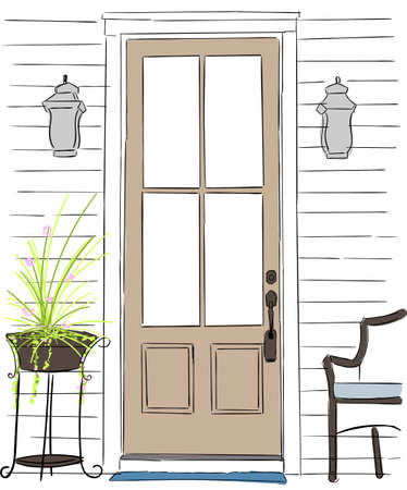mediterranean homes: Entrance wooden door on a white background.Wicker chairs on the terrace with flowers.Vintage style old wooden door with flower pots and chairs attack, the atmosphere is casual Illustration