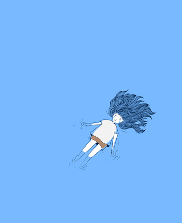 Young girl in the pool. She was crying deeply.Woman crying in blue background