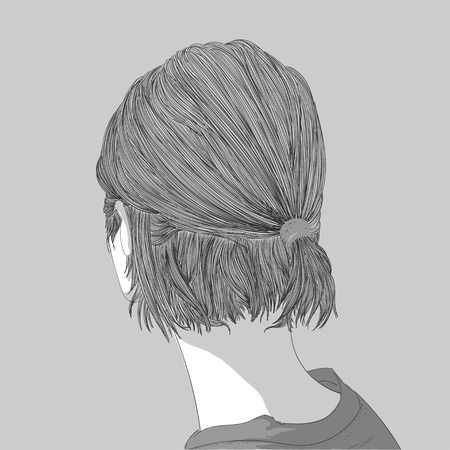Doodle beautiful woman drawing up after you are ignoring lovers.A sketch of a female hairstyle.fashion illustration of girl