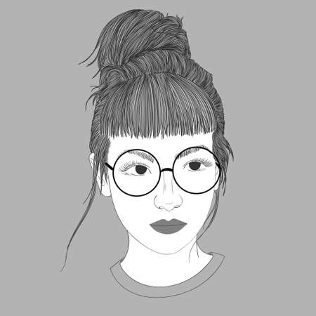 Young girl wearing glasses and school children.Doodle beautiful woman drawing. A sketch of a female hairstyle. Fashion illustration of girl