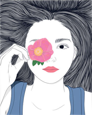 make up model: Long hair girl, she is playing with pink flowers.Doodle beautiful woman drawing. A sketch of a female hairstyle. Fashion illustration of girl Illustration