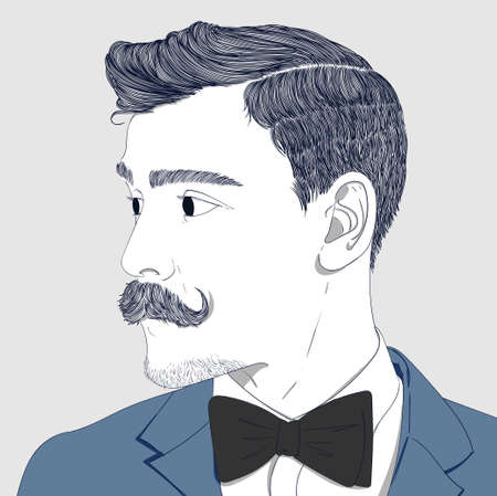 he is beautiful: vector illustration.The man has a beautiful mustache face and a black bow tie. He is preparing for the party Photo toned in sepia, stylized retro shoot.creative idea Concept Doodle Illustration