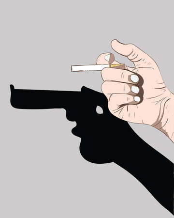 A man holding a cigarette trying to kill himself in a gun-like silhouette..Hand painted cigarette paintings in creative idea.World No Tobacco Day Illustration