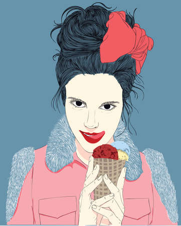 Illustrated eating ice-cream.Women dress up fashionable trendy, stylish chic. She has long hair and a pink bow on her head. She is going to eat ice cream with seductive eyes.