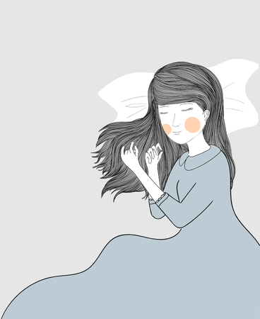 A woman sleeps happily because she is in love.Sleepy beauty. Attractive young woman is sleeping at her bed. Illustration