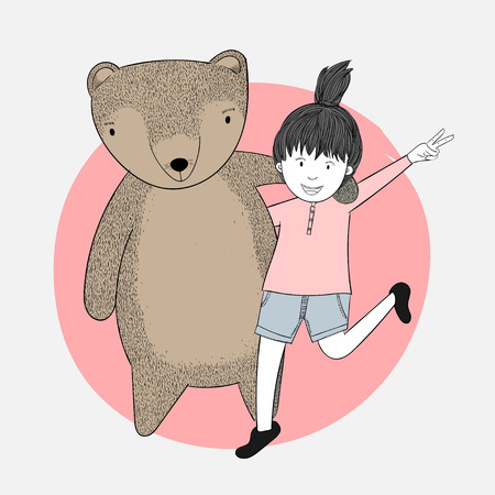 Girls hugging bears, dear friends in spring.She is happy to have her beast-loving friend in a lonely and lonely moment.