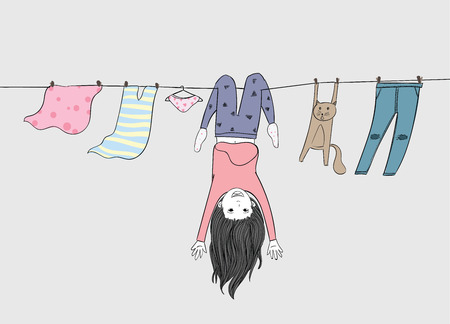 Little girl and her beloved cat are enjoying the holidays.Both of them naughty play on the clothesline in the summer. Illustration