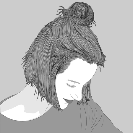 Doodle beautiful woman drawing. A sketch of a female hairstyle. Fashion illustration of girl Illustration