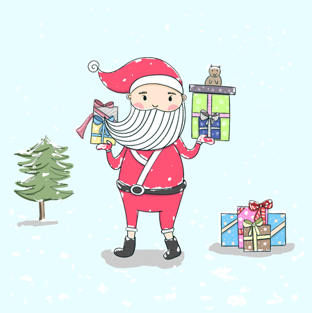 Cute vector Christmas.Santa Claus outdoors in snowfall carrying gifts to children.Santa claus on white background. Vector illustration for retro christmas card. Illustration