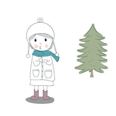 Cute vector child.Children in Becket a cold winter and the discomfort, runny nose. Illustration