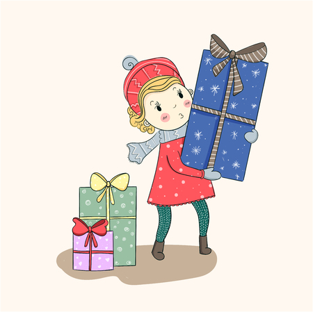 Cute vector Christmas. Cute girl received a special gift on Christmas.
