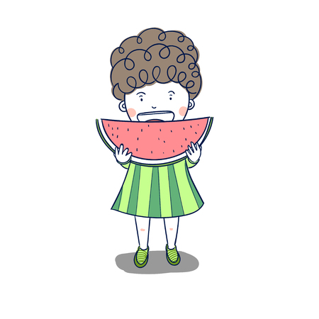 Cute child eating watermelon is delicious.Watermelon red, a favorite of children, men and women.Children's holiday vacation period.