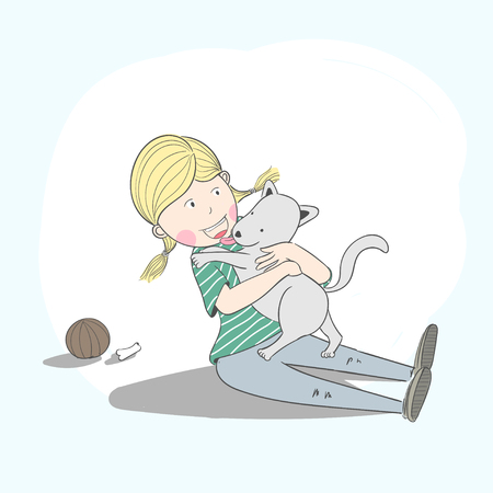 Cartoon illustration of girl hugging a dog because it is her best friend.