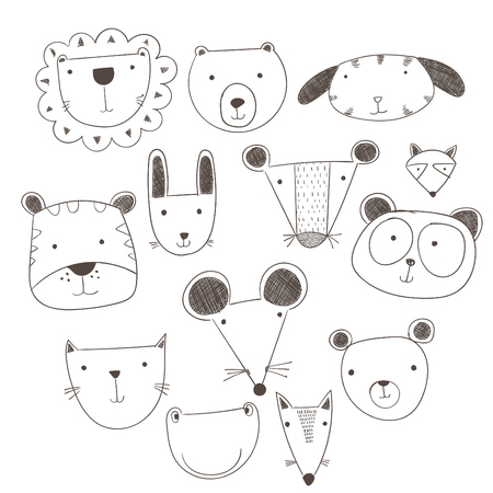 Cartoon cute animals many a highlight. Vector illustration of animal faces.