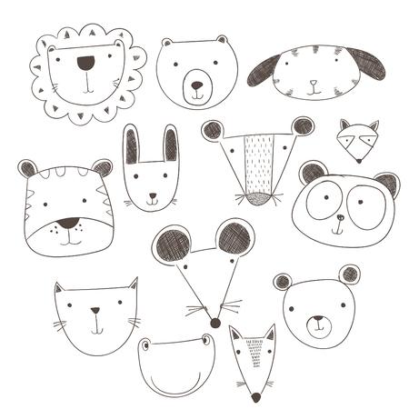 Cartoon cute animals many a highlight. Vector illustration of animal faces.