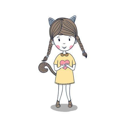 Little girl wearing a heart designed shirt.