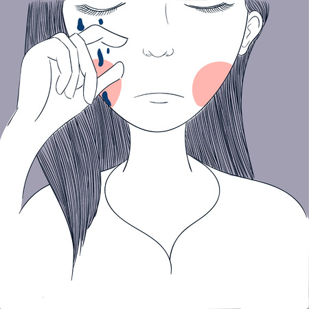 Women are crying painting in pink surface.Eye Tears Vector Icon.One beautiful brown color caucasian female eye wide open with eyebrow and eyelash cry. Crying eye icon Illustration