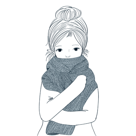 cute winter girl.Beautiful young girl hugging her French scolded himself during the winter. She may not have a fever due to climate change by snow.