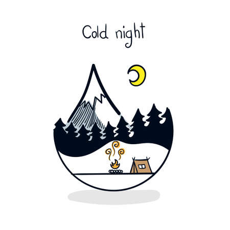 Snowy frosty during a family vacation. Vector winter wonderland night background. Illustration