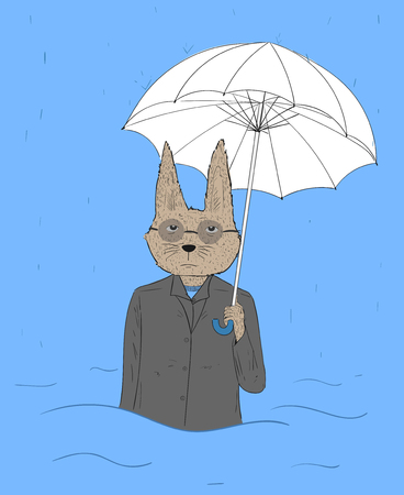 Rabbit eyes wear glasses with umbrellas tired of work.The rabbit was badly hit by heavy rain, floods. Rabbit is very bored with life itself.