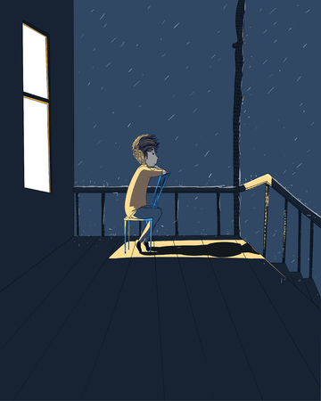 Man sitting on his favorite chair. Man looking at the rain in the front porch.He was thinking of a lover who was far away.