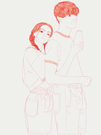 Los amantes se abrazan felizmente Ilustración de Doodle. Hombre bebiendo leche con novia.