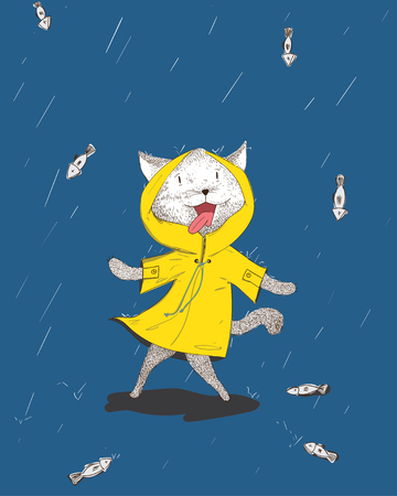 The cat is shocked to see the rain falling with fish falling from the sky.The cat is happy to see the fish.Yellow rain mats and blue background