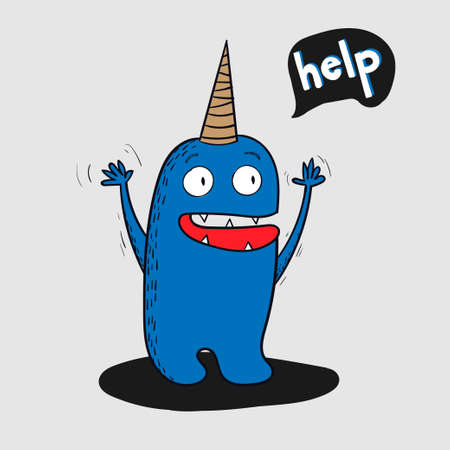 asked: Cartoon animals the cute monster vector character design.He asked for help as a letter. Illustration