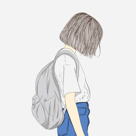 The short haired girl in white shorts and her favorite bag was bent to the ground. Hipster fashion art.Creative idea concept doodle