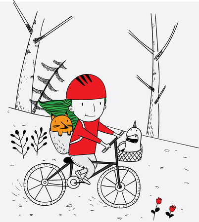 Children and their friends and monsters are taking a trip. This girl is riding a fun bike.Cartoon animals the cute monster vector character design Illustration
